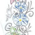 Dessin tatouage fleurs et papillons