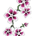 Dessin de tatouage de fleurs violettes