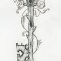 Dessin tatouage clé arbre