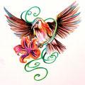 Dessin tatouage moineau et lis