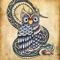 Dessin tatouage chouette et serpent