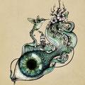 Dessin tatouage oeil oiseau et fleurs
