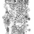 Dessin tatouage tigre blanc sur tapis de fleurs