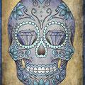 Dessin tatouage tête de mort mexicaine et diamants