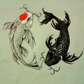 Dessin tatouage carpes koi