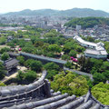 The grounds of Himeji Castle and the city beyond