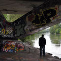 Under a bridge on the Donaukanal.