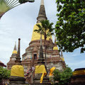 Yellow cloths wrapped around the chedi of Wat Yai Chai Mongkhon
