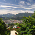 Our first view from Hungerberg, with Innsbruck below.