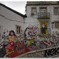 Fado muurschildering in een steegje in Lissabon