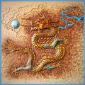 Leder Punzierung Drache unterlegt gold, Lederkunst.