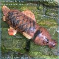 Die Fische der Altmühl, Objekt Frauennervling. Plastikflasche in Leder eingenäht. Preis auf Anfrage.