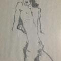 エゴン・シーレ作 男性裸像(自画像) 模写(鉛筆)