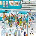 """Wimmelbild-busbahn, Erstnutzung """"traffiQ"""" Plakat und Schulmaterial"""