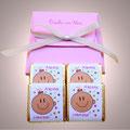 Caja con 4 napolitanas de chocolate personalizadas
