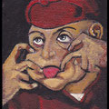 Mini grimace d'après peinture flamande XVIè, acrylique sur toile 10x7cm-2013