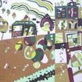 My Green Heaven 36.4×51.5cm モスリン 漆・日本画・染色の協奏曲