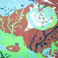 波紋通る雁  185×170cm/亀岡市美術展、京都芸大染織後期展