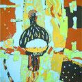 トリのメキシコ人-第5幕-  185×112cm 綿布/西宮市展・西宮市展賞 京都市動物園にてスケッチ