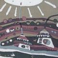 ソラニタイヨー 14×18cm  モスリン 漆・日本画・染色の協奏曲