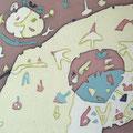 イエローサン  15.8×22.7cm  綿布  RO-MAN染色展