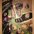 月のひざし 51.5×36.4cm 綿布 立松功至 染色展「29」