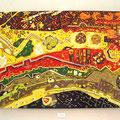 イエローマジックオーケス寅 120×160cm 綿布 京都工芸美術作家協会展、漆・日本画・染色の協奏曲