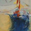 Blaues Segel, 60x60, Gouache