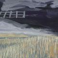Zaun am Himmel, 38x30, Gouache und Zeichnung auf Karton
