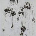 Die Meute, 84x59, Zeichnung Kohle und Kreiden
