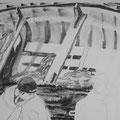 Boot, 59x84 cm, Zeichnung Kohle, 2016 (verkauft)