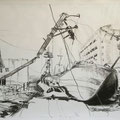 Fukoshima II, 59x84, Zeichnung Kohle