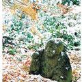 羅漢「石峯寺」‥左と同じく、江戸中期を代表する画家・伊藤若冲が下絵を画き、石工に彫らせたものです。