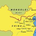Streckenkarte - Die Chinesische Mauer erstreckt sich vom Shanhaiguan Pass an der Ostküste bis zum Jiayuguan Pass in der Wüste Gobi