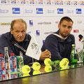 Михаил Южный с тренером Борисом Львовичем Собкиным на пресс-конференции