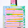 """ Dear sunshine ""     95 x 50,5 x 2 cm, Acrylic and mixed Media on canvas and wood, 2018"