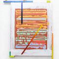 """ Memoranda during summer ""     156 x 122 x 4,5 cm, Acrylic on canvas and wood, 2018"
