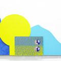 """ Ohayou world! "" 45 x 85 x 2,6 cm, Acrylic on aluminium plate and wood plate, 2018"