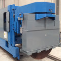 Cutting saw for concrete prestressed hollow core slabs
