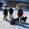 Dani, Timo, Andi und Celine mit den Hunden