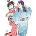 歌舞伎 二人椀久 ににんわんきゅう イラスト 挿絵 役者絵