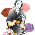 歌舞伎 イラスト 挿絵 蝶の道行 牡丹 舞踊