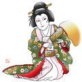 歌舞伎 鏡山旧錦絵 奧女中 尾上  イラスト 挿絵 役者絵