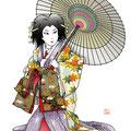 歌舞伎 イラスト 挿絵 役者絵 将門 滝夜叉姫 傘 花魁