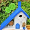 Houten Nestkastje voor Pindakaas pot, Nestkastje, thema, Grieks stijl  blauw-wit, Vogelhuisje bouwen, vogelhuisje pindakaas pot, huisje blauw-wit_1
