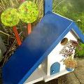 Houten Nestkastje voor Pindakaas pot, Nestkastje, thema, Grieks stijl  blauw-wit, Vogelhuisje bouwen, vogelhuisje pindakaas pot, huisje blauw-wit_3