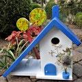 Houten Nestkastje voor Pindakaas pot, Nestkastje, thema, Grieks stijl  blauw-wit, Vogelhuisje bouwen, vogelhuisje pindakaas pot, huisje blauw-wit_5