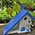 Houten Nestkastje voor Pindakaas pot, Nestkastje, thema, Grieks stijl  blauw-wit, Vogelhuisje bouwen, vogelhuisje pindakaas pot, huisje blauw-wit_7