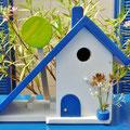 Houten Nestkastje voor Pindakaas pot, Nestkastje, thema, Grieks stijl  blauw-wit, Vogelhuisje bouwen, vogelhuisje pindakaas pot, huisje blauw-wit