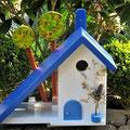 Houten Nestkastje voor Pindakaas pot, Nestkastje, thema, Grieks stijl  blauw-wit, Vogelhuisje bouwen, vogelhuisje pindakaas pot, huisje blauw-wit_6
